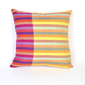 Square Pillow | Diamond Stripe Magenta with Lime Yellow Reversible