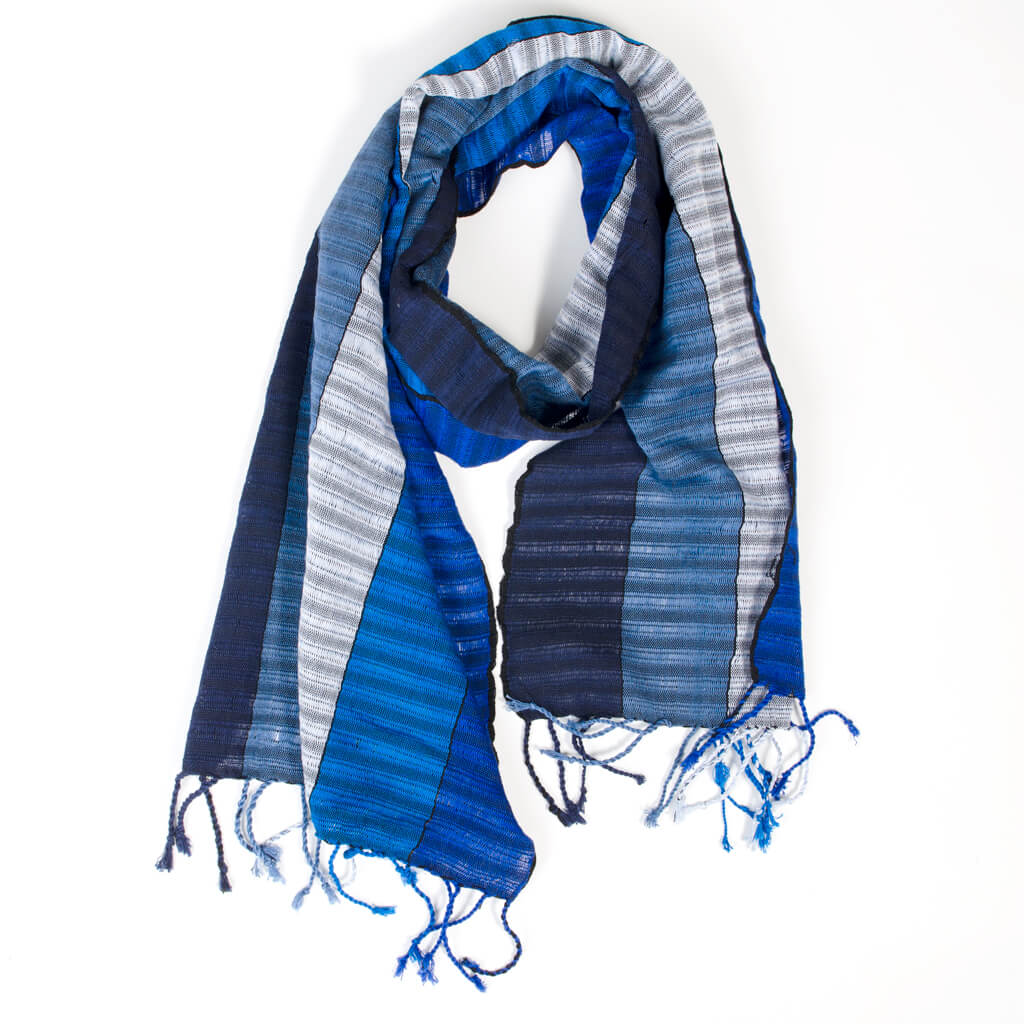 Fringed Gossamer Scarf | The Blues