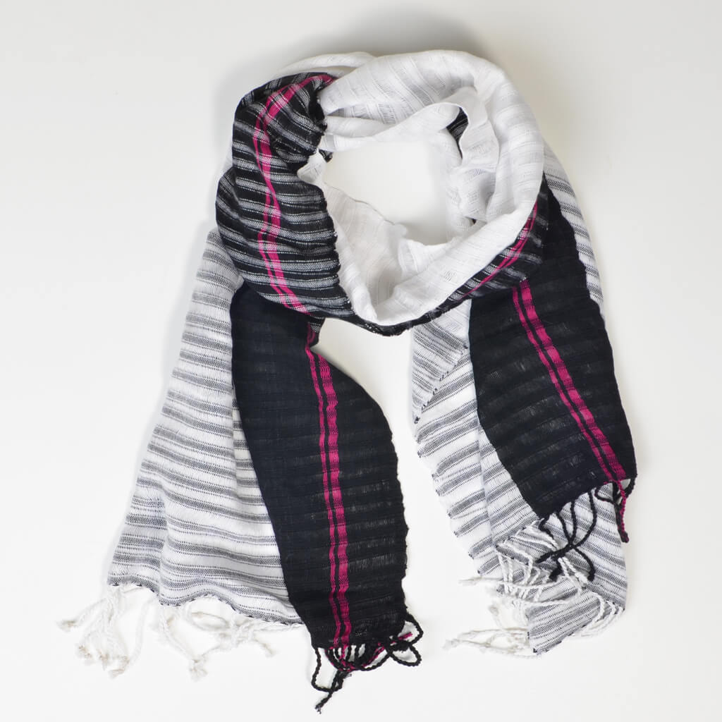 Fringed Gossamer Scarf | Black & White Block with Magenta
