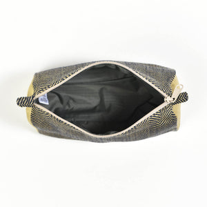 Cosmetic Bag | Navy & Khaki Herringbone