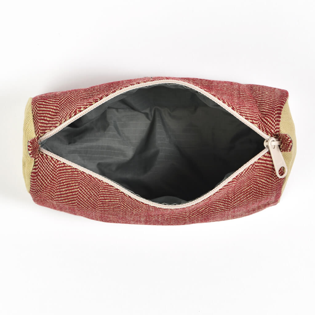 Cosmetic Bag | Maroon & Khaki Herringbone