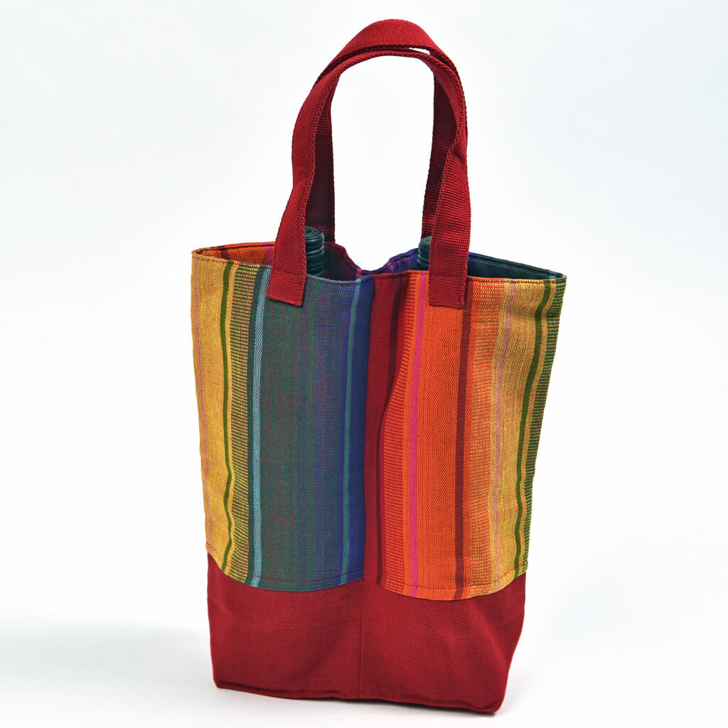 Wine Bottle Tote | Double in Sunrise Stripe