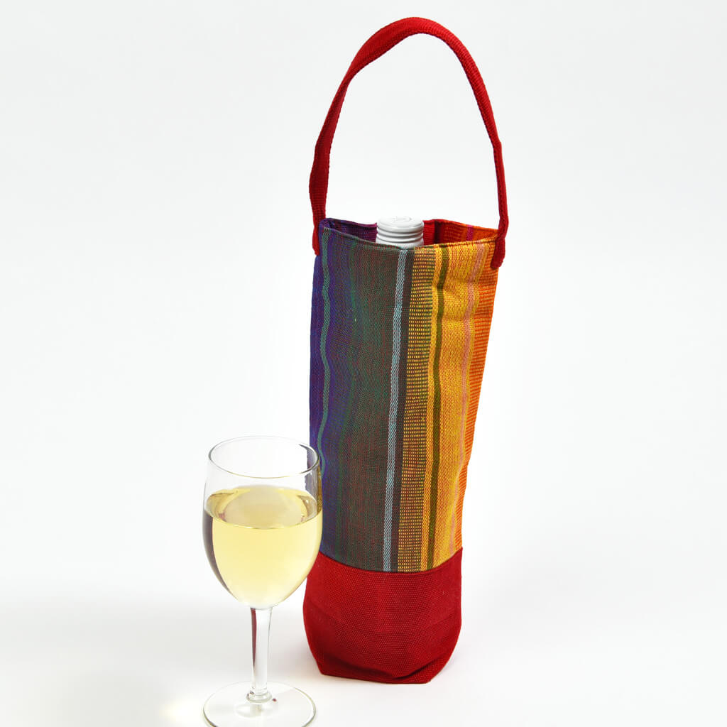 Wine Bottle Tote | Single in Sunrise Stripe