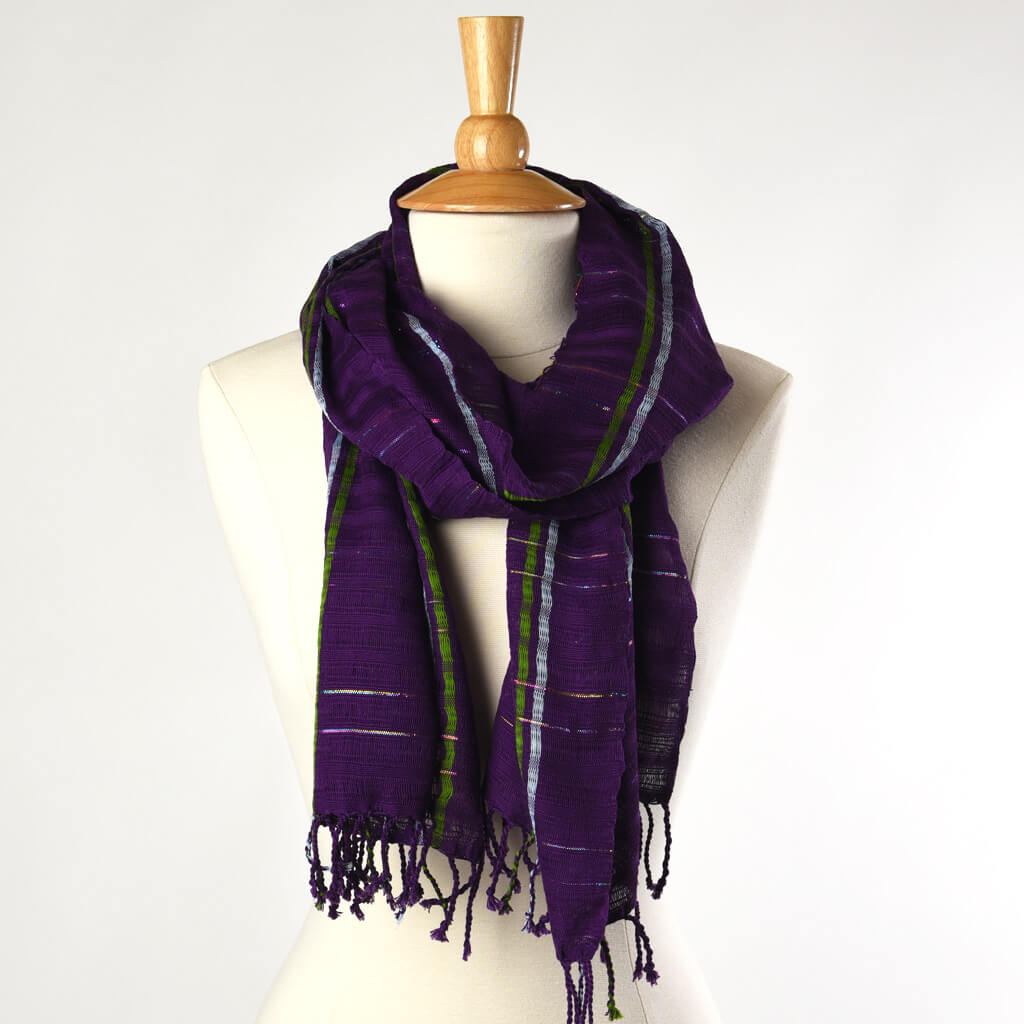 Violet Sparkle Scarf | Fringed or Infinity Style