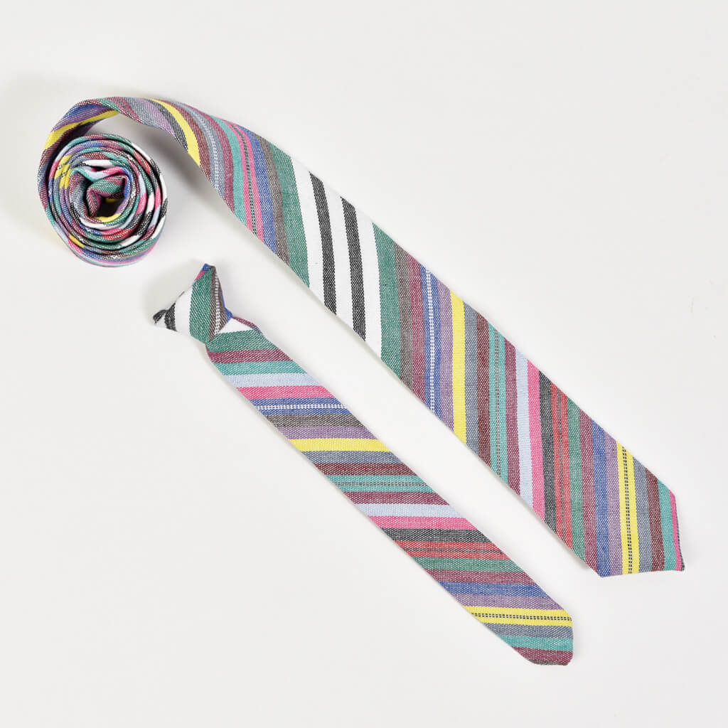 Men's & Boy's Tie Matching Set | Soft Multi Stripe