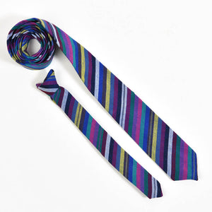 Men's & Boy's Tie Matching Set | Cobalt Stripe