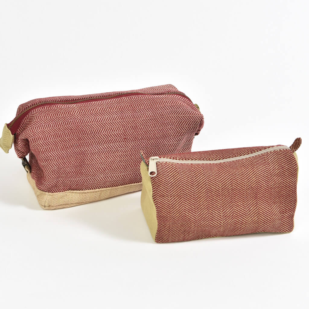 Toiletry Bag Set | Maroon Herringbone