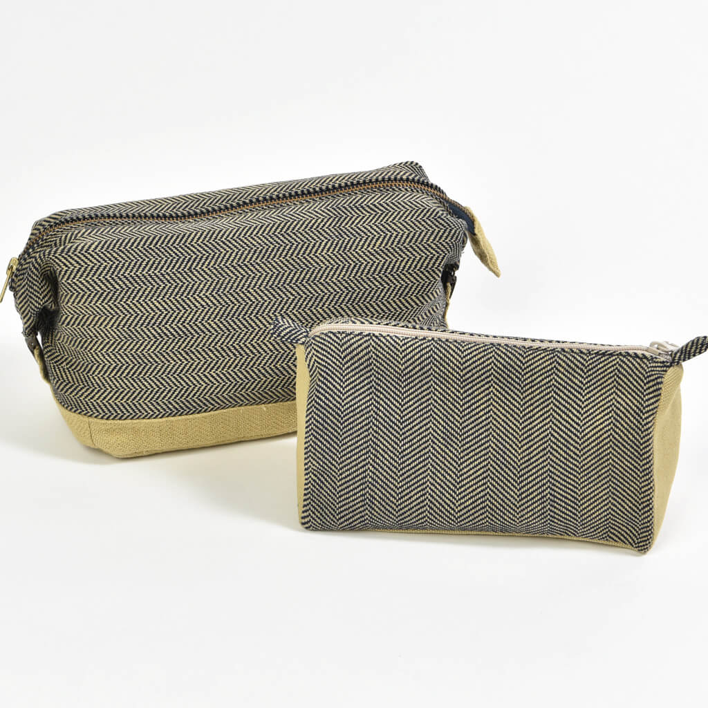 Toiletry Bag Set | Navy Herringbone