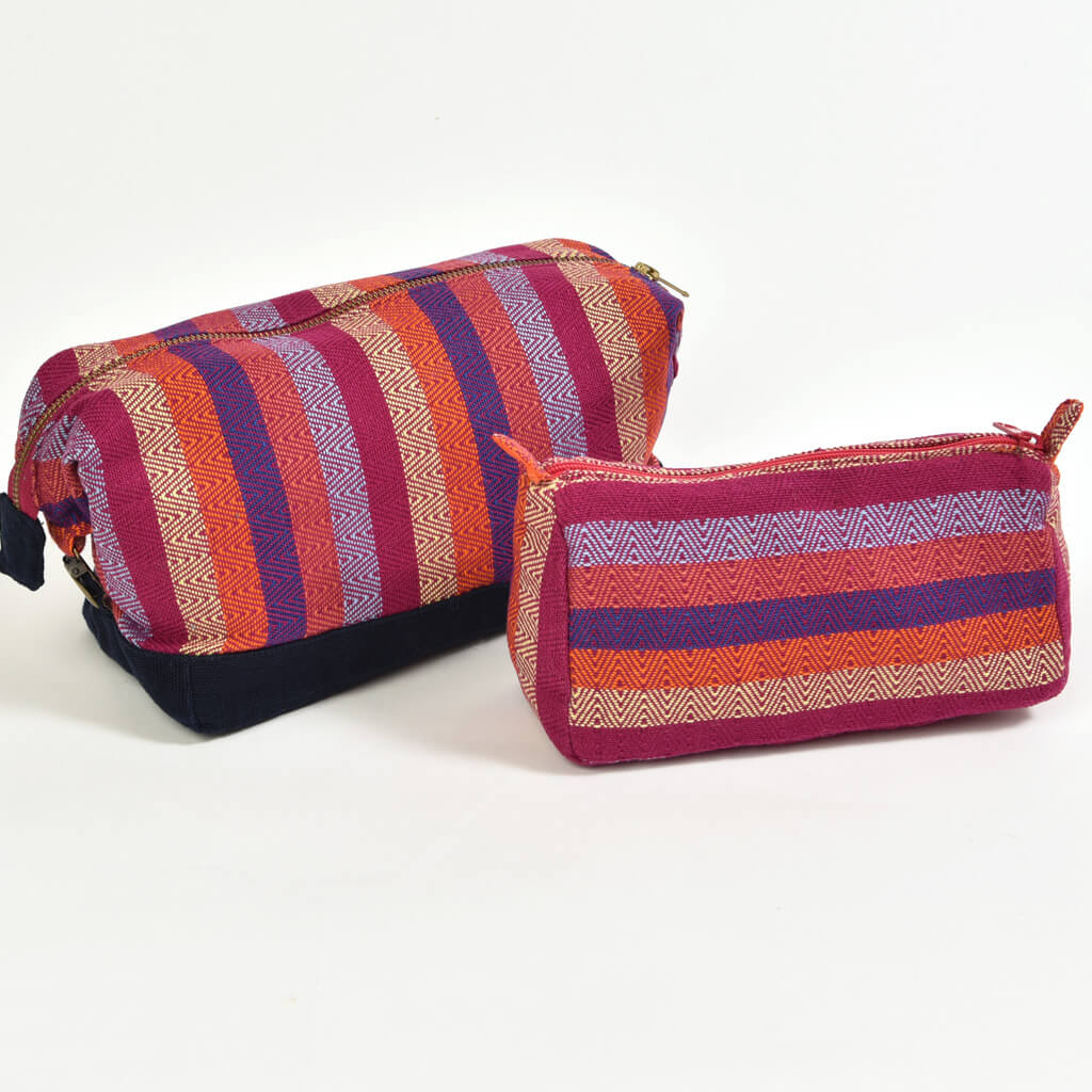 Toiletry Bag Set | Magenta Diamond Stripe