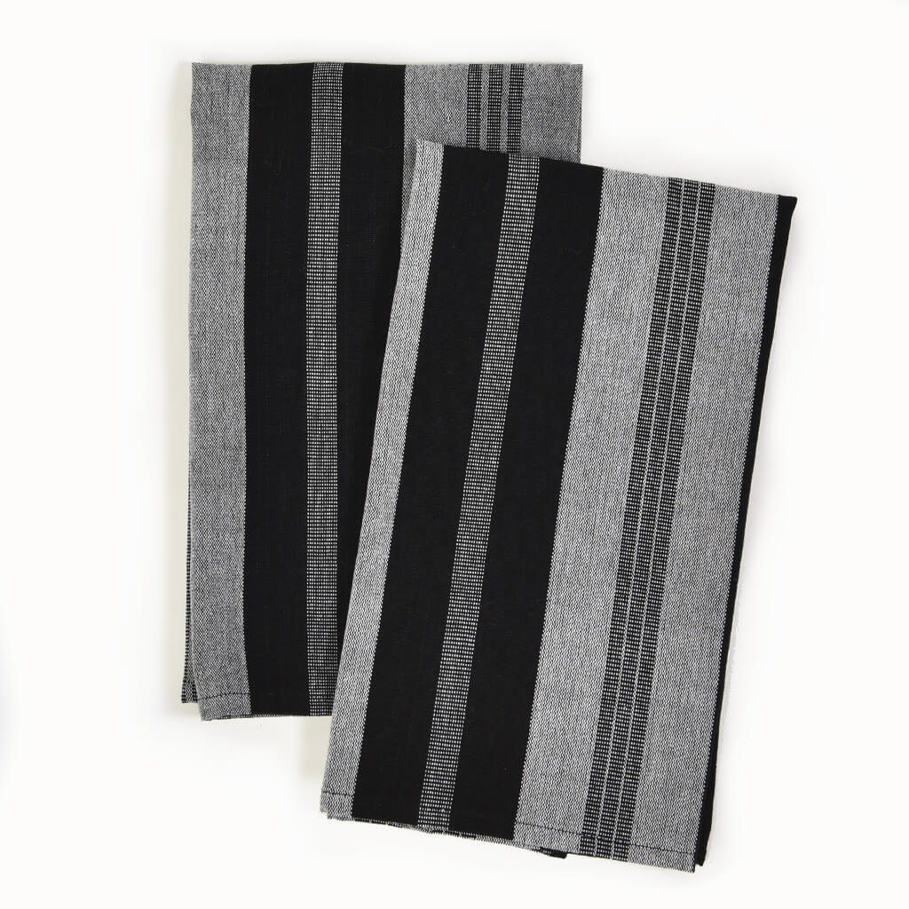 Striped Kitchen Towels | Black & Gray