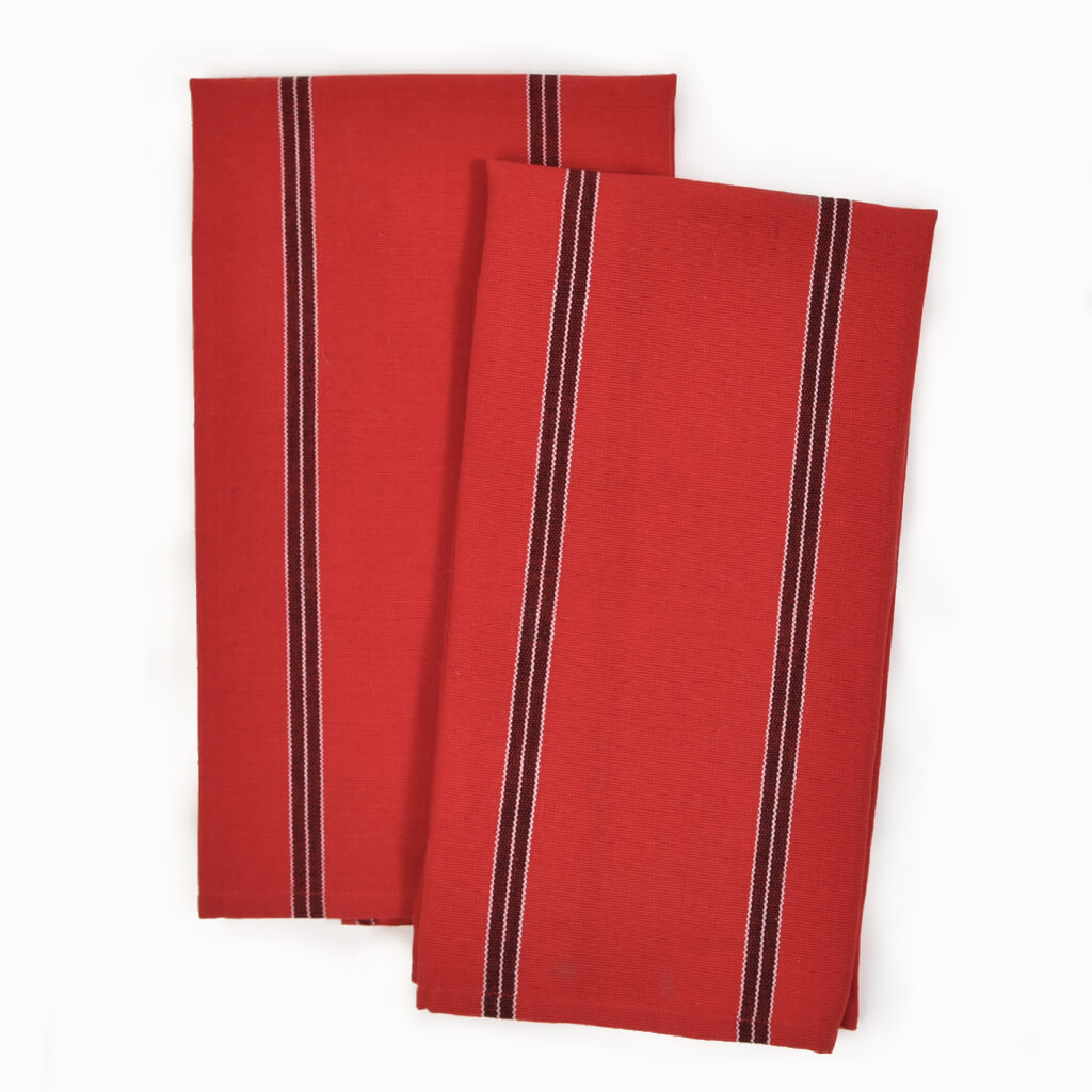 Cajola Red Striped Kitchen Towels