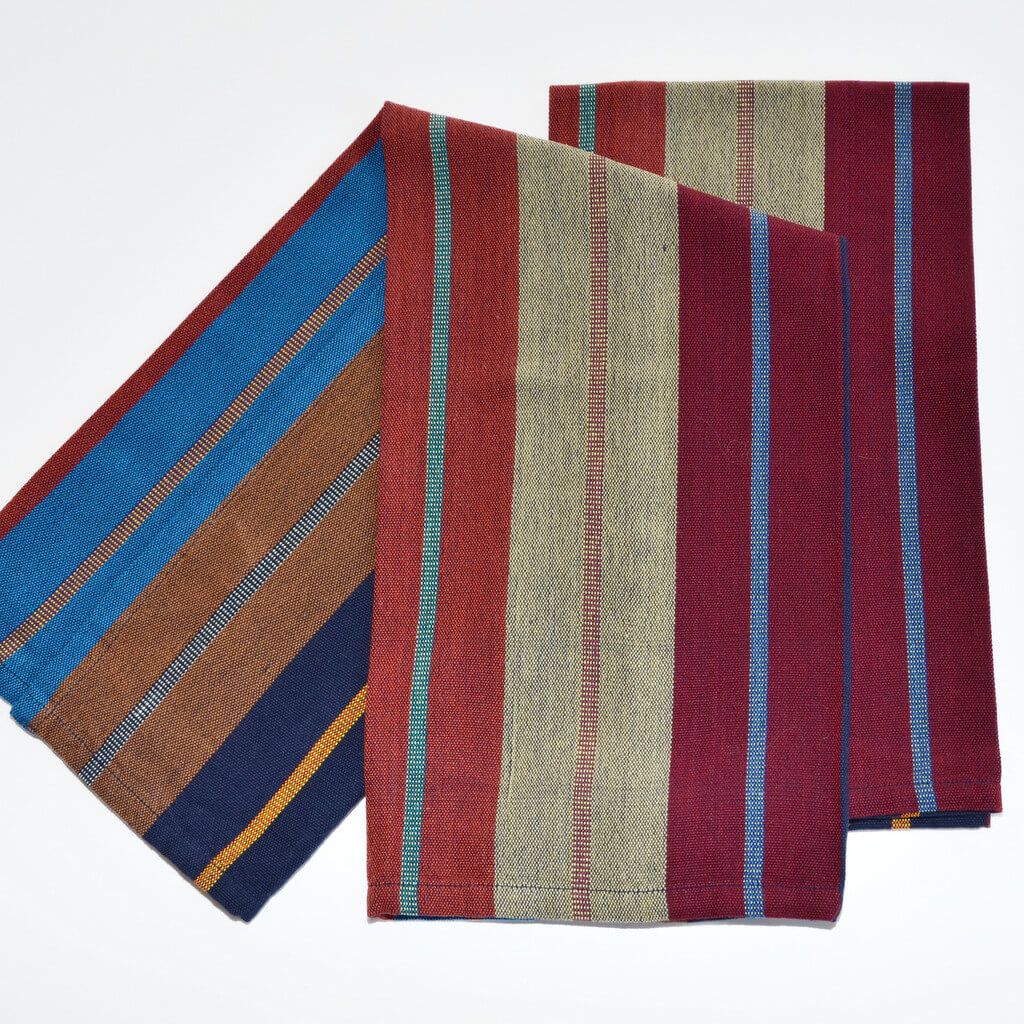 Striped Kitchen Towels | Wide Indigo Stripes
