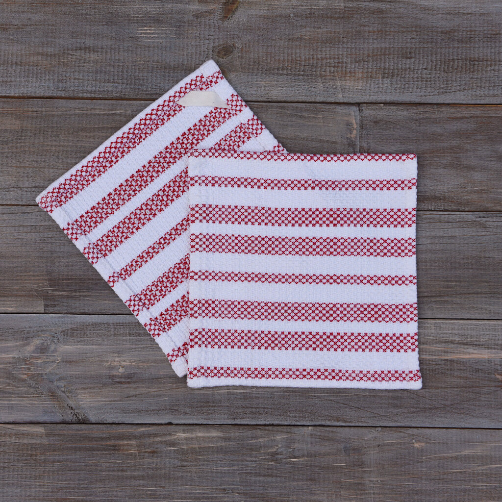 Dish Cloths  Red & White Striped