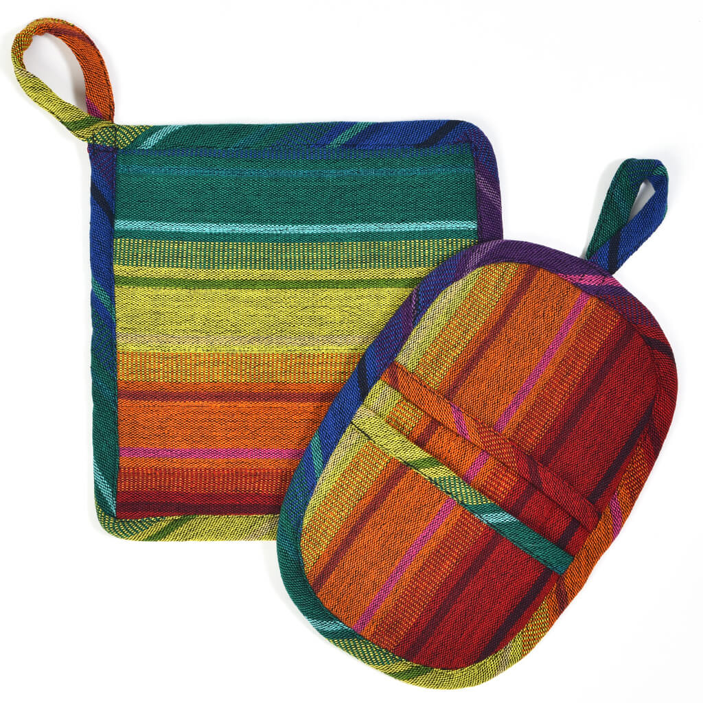 Potholder Gift Set | Rainbow Stripe