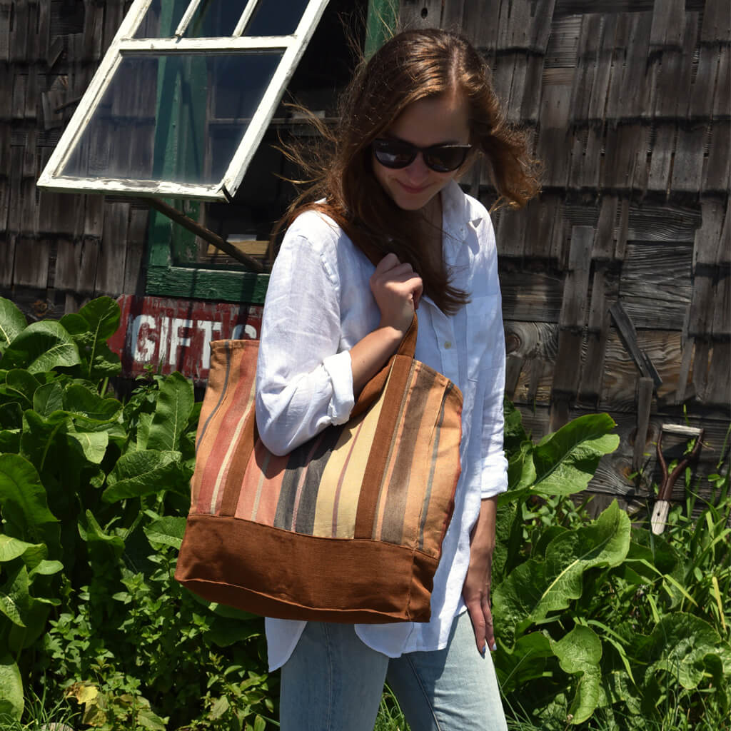 Market Tote | Wide Caramel Stripes