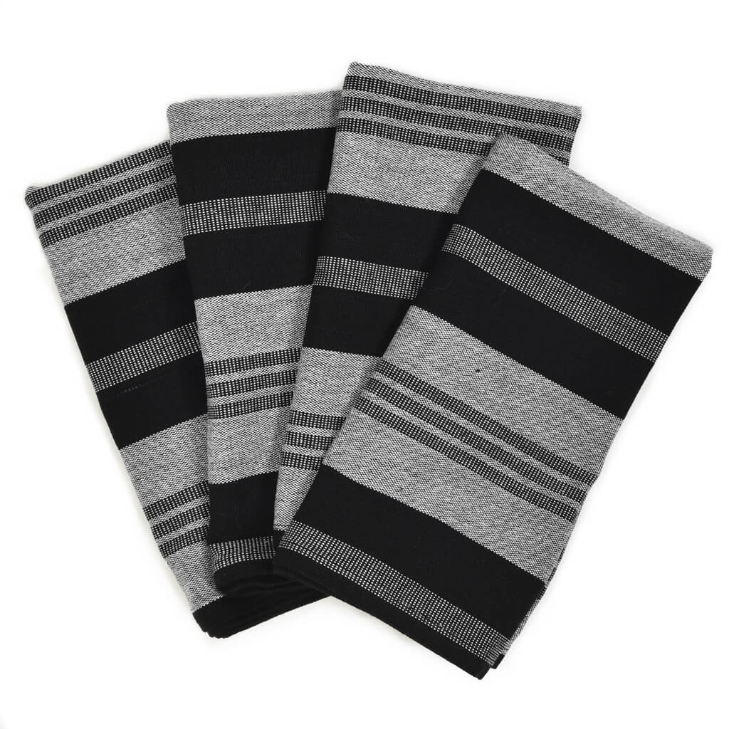 Table Napkins | Black & Gray Stripes