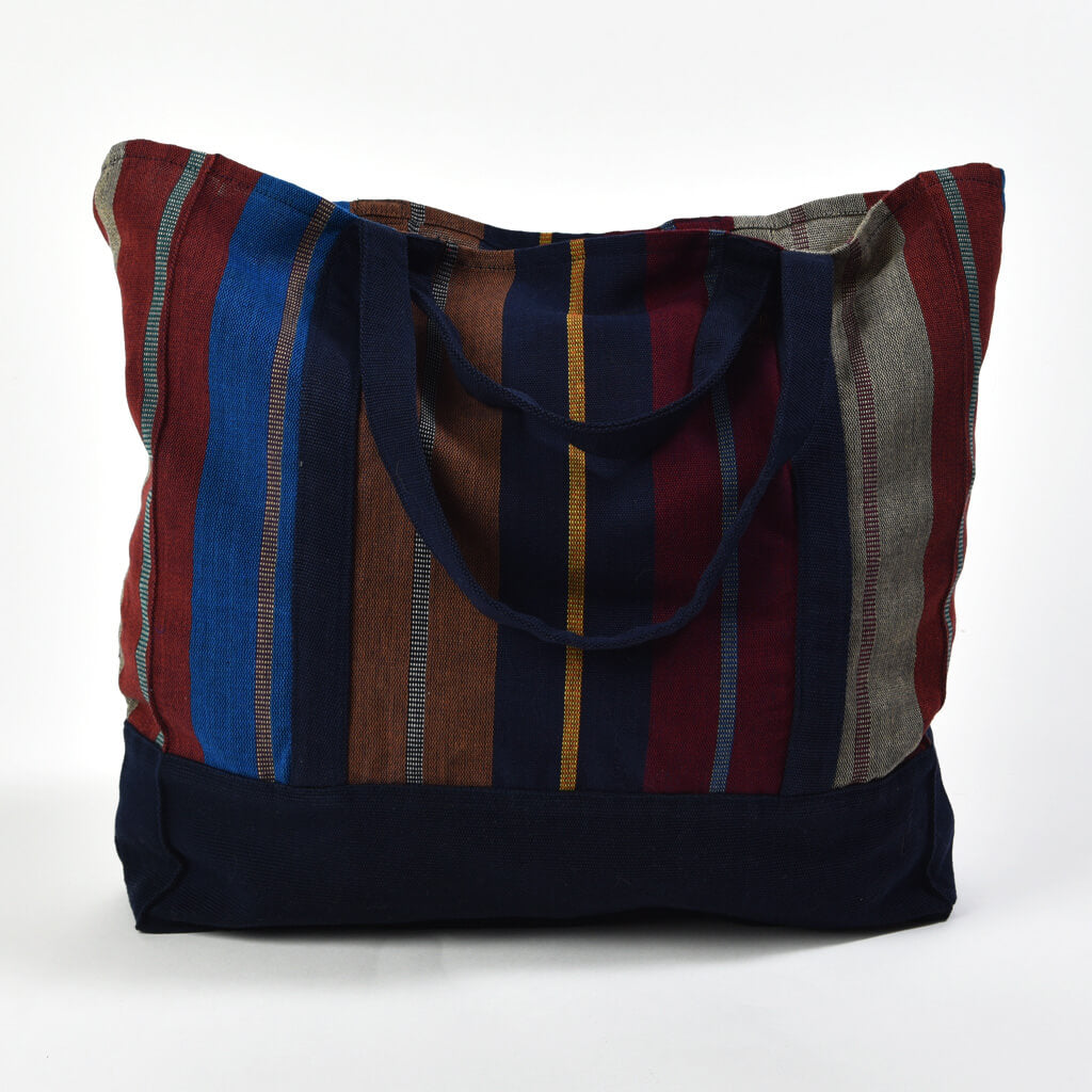 Market Tote | Wide Indigo Stripes