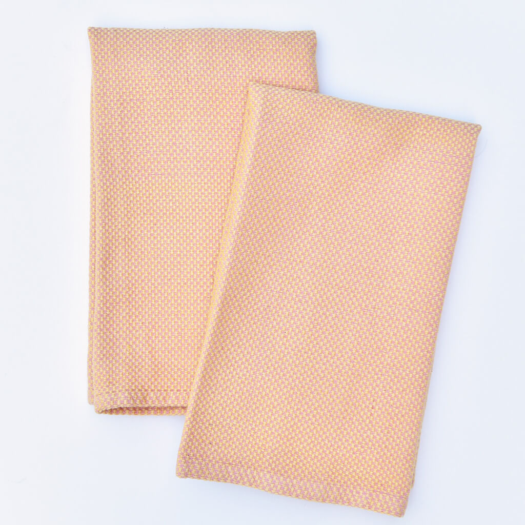 Hache Dish Towels Pink & Butter Yellow