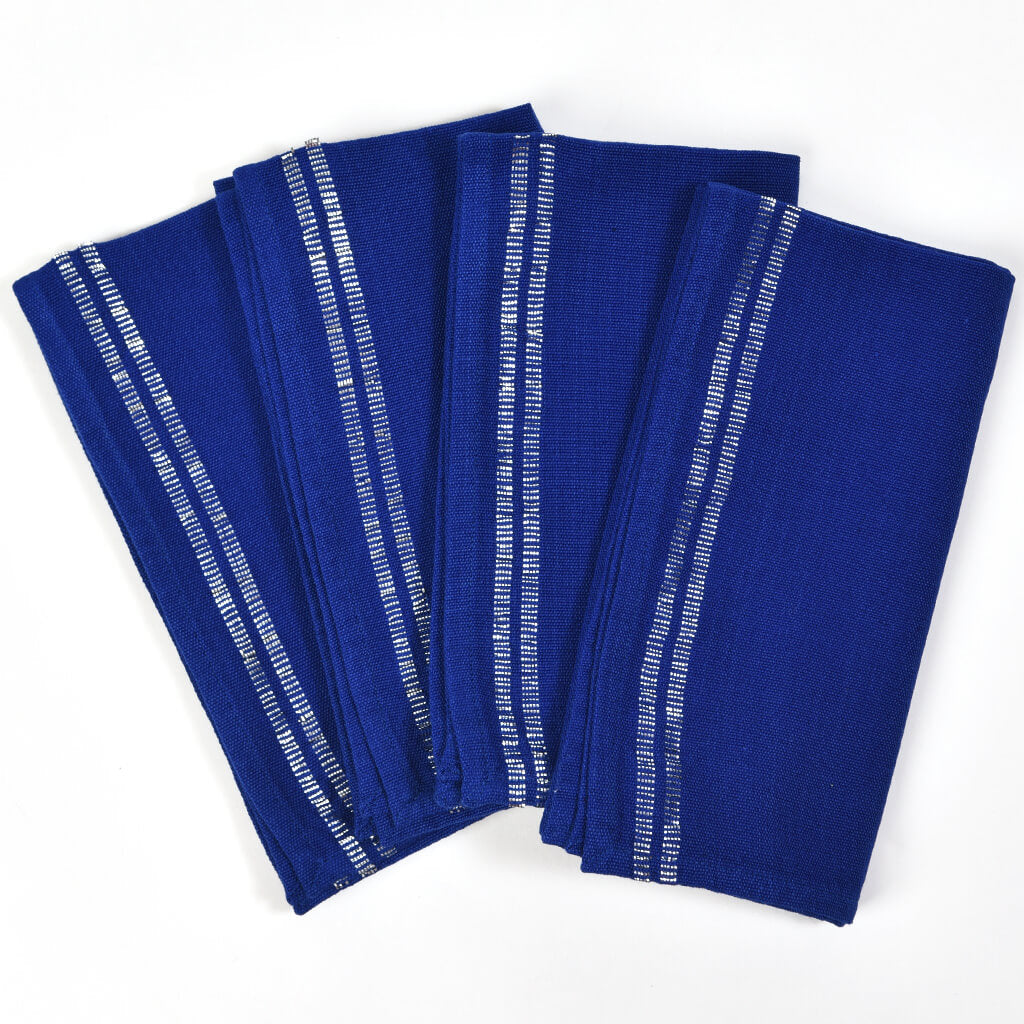 Sparkle Table Napkins | Cobalt Blue with Silver
