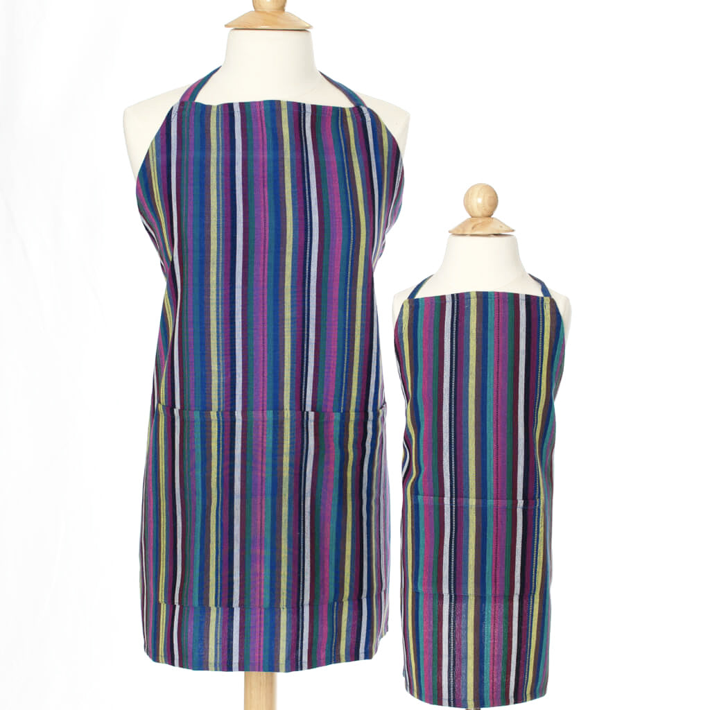 Child & Adult Matching Bib Aprons | Cobalt Blue Stripes