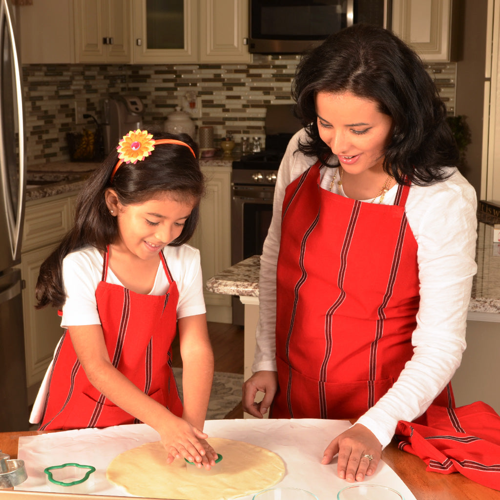 Child & Adult Matching Bib Aprons | Cajola Red Stripes