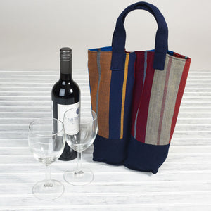 Wine Bottle Tote | Double in Wide Indigo Stripe
