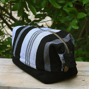 Toiletry Bag | Black & Gray Stripes