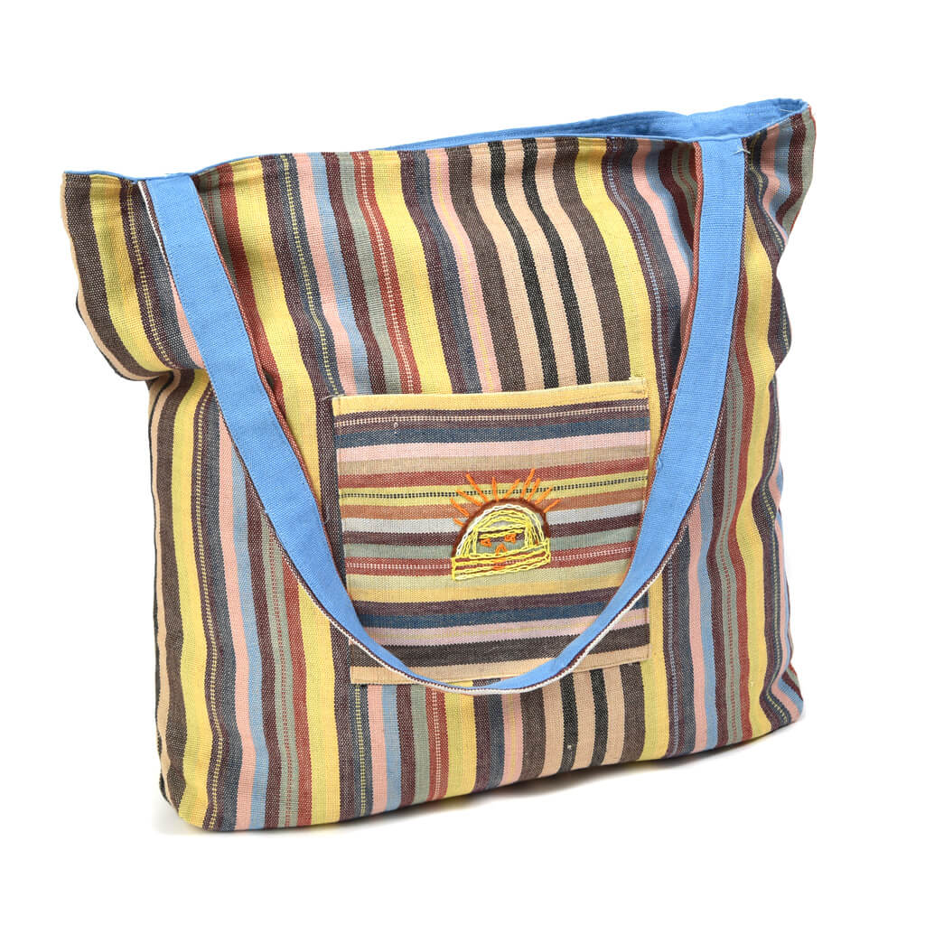 Striped tote bag | Earth tone