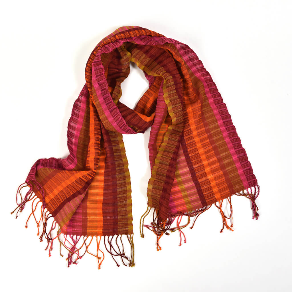 Fringed Gossamer Scarf | Autumn Leaves
