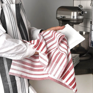 Hache Dish Towels | Red & White Stripes with Border
