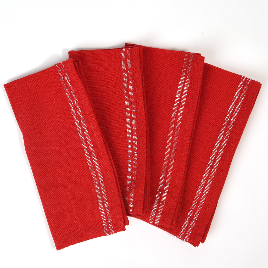 Sparkle Table Napkins | Red with Silver
