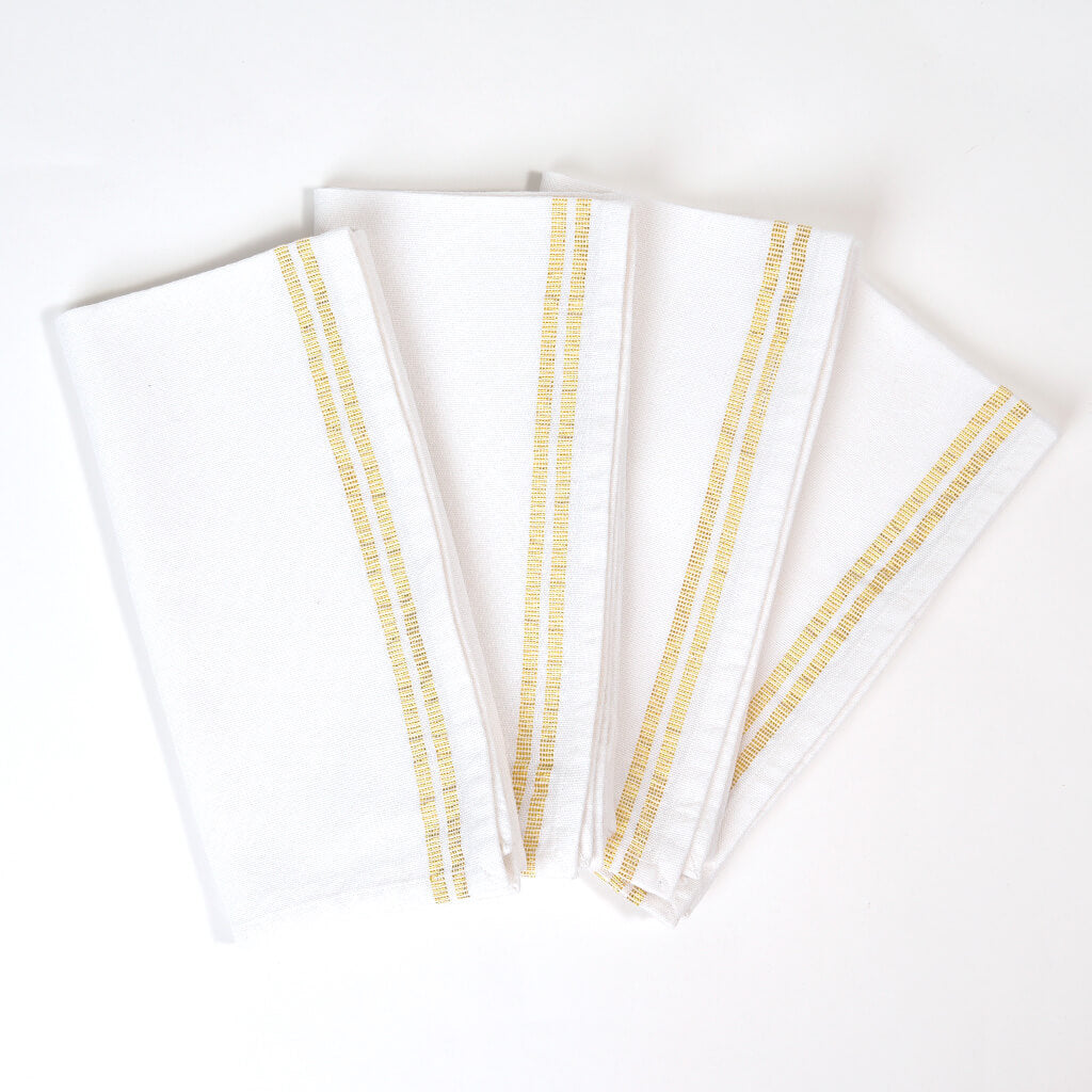 Sparkle Table Napkins | White with Gold