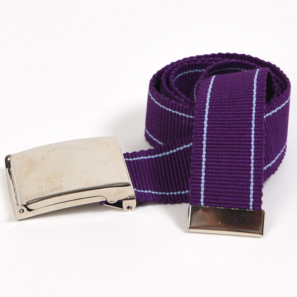 Men's Striped Canvas Belts | Violet & Light Blue Pinstripe