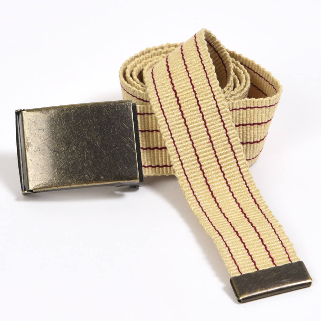 Men's Striped Canvas Belts | Champagne & Maroon Pinstripe