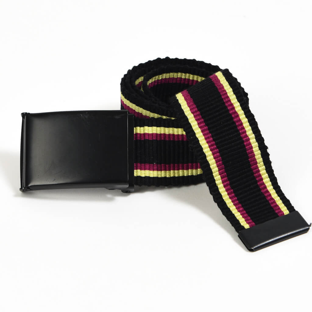 Men's Striped Canvas Belts | Black Tricolor