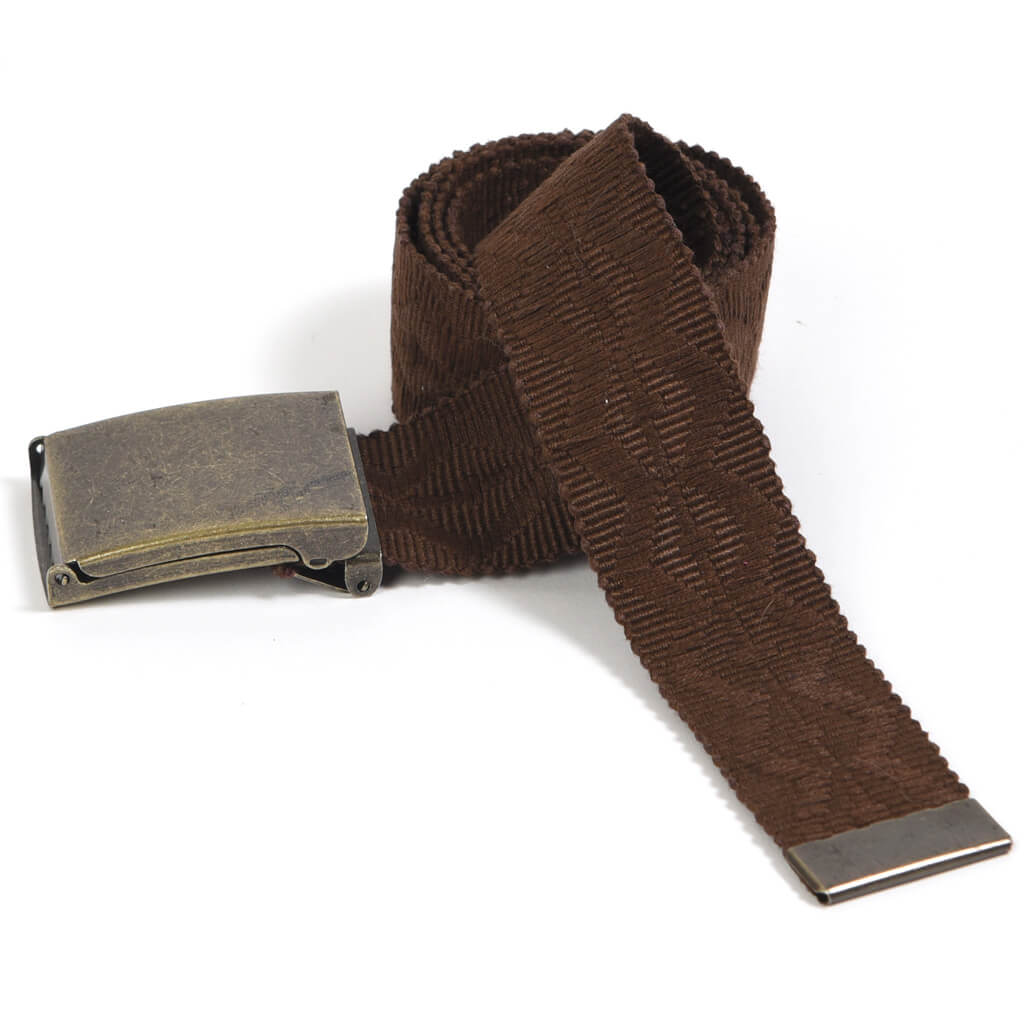 Men's Embroidered Canvas Belt | Brown on Brown