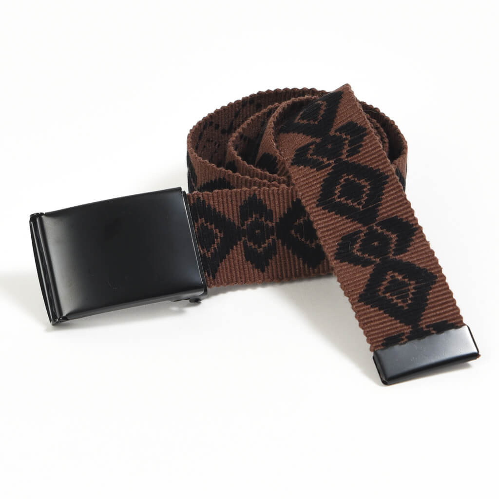 Men's Embroidered Canvas Belt | Black on Brown
