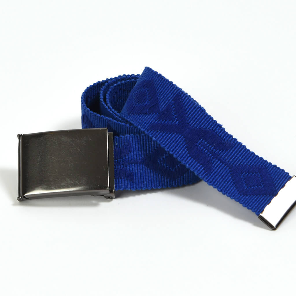 Men's Cobalt Embroidered Canvas Belt