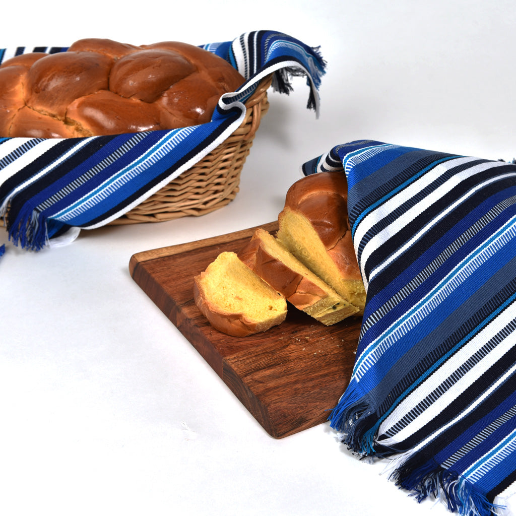 Challah Cover | Blue & White Stripes
