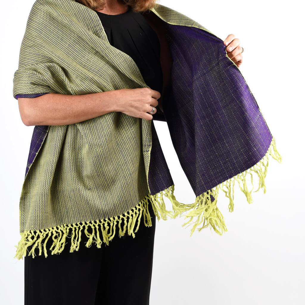 Vibrant Shawl | Lime Yellow & Violet