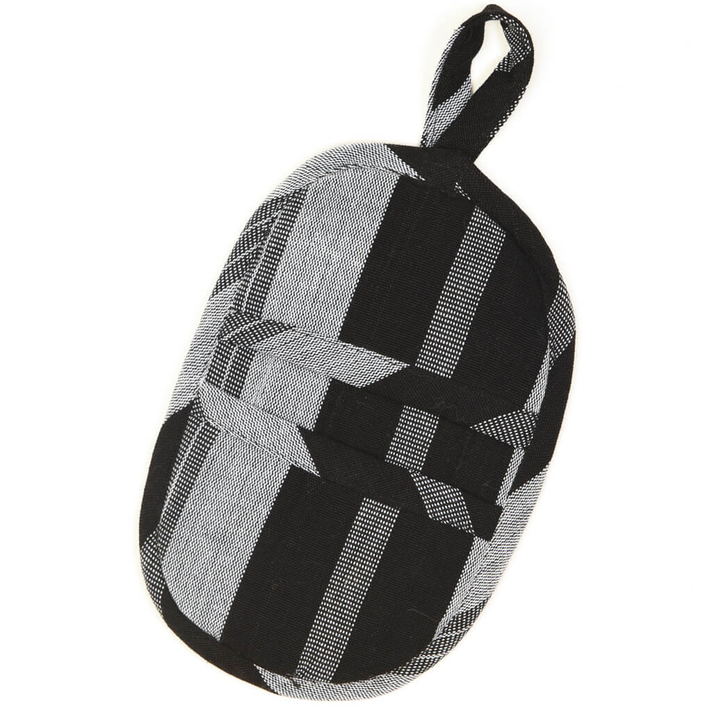 Mini Oven Mitt | Black & Gray Stripes