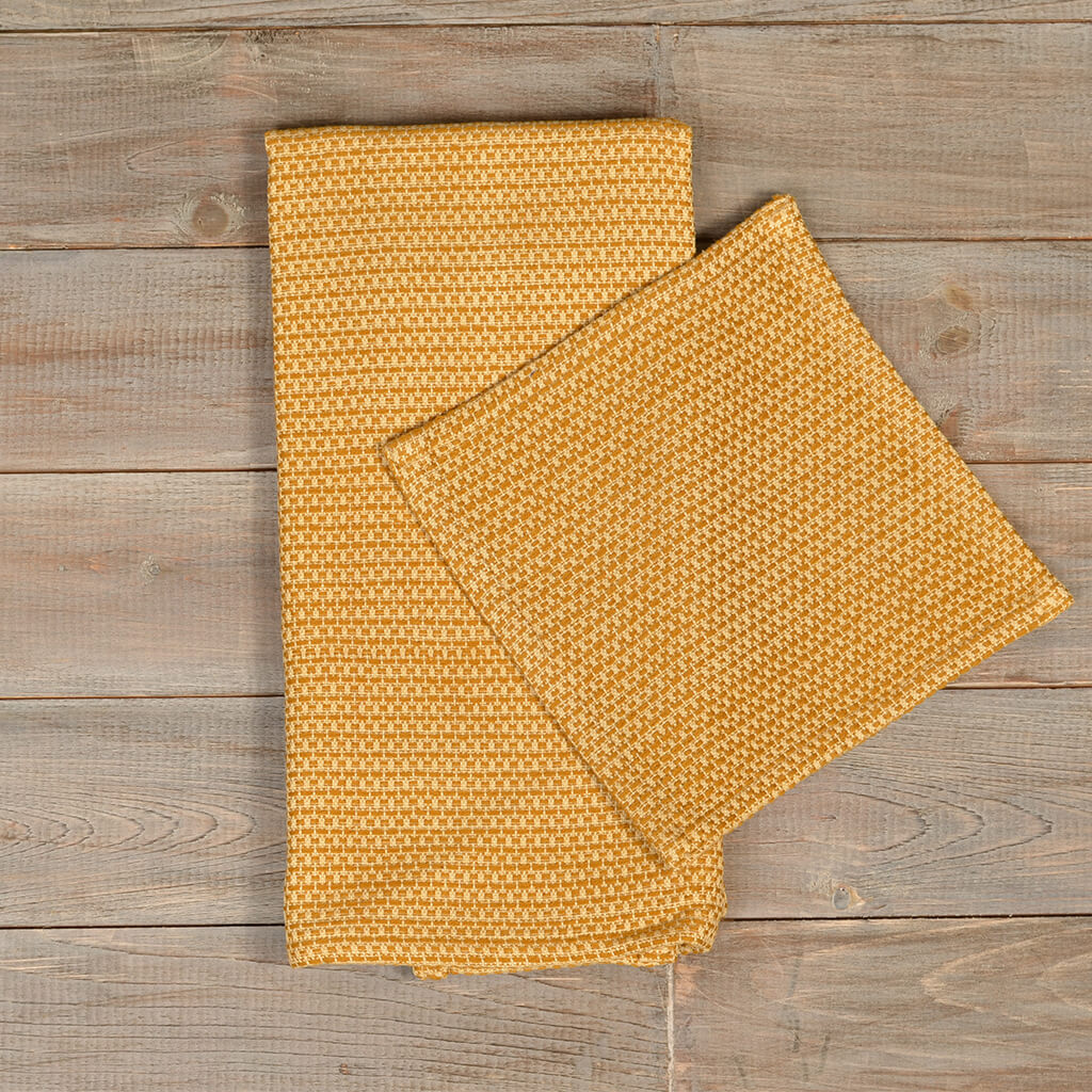 Hache Kitchen Towel with Dish Cloth in Harvest Wheat