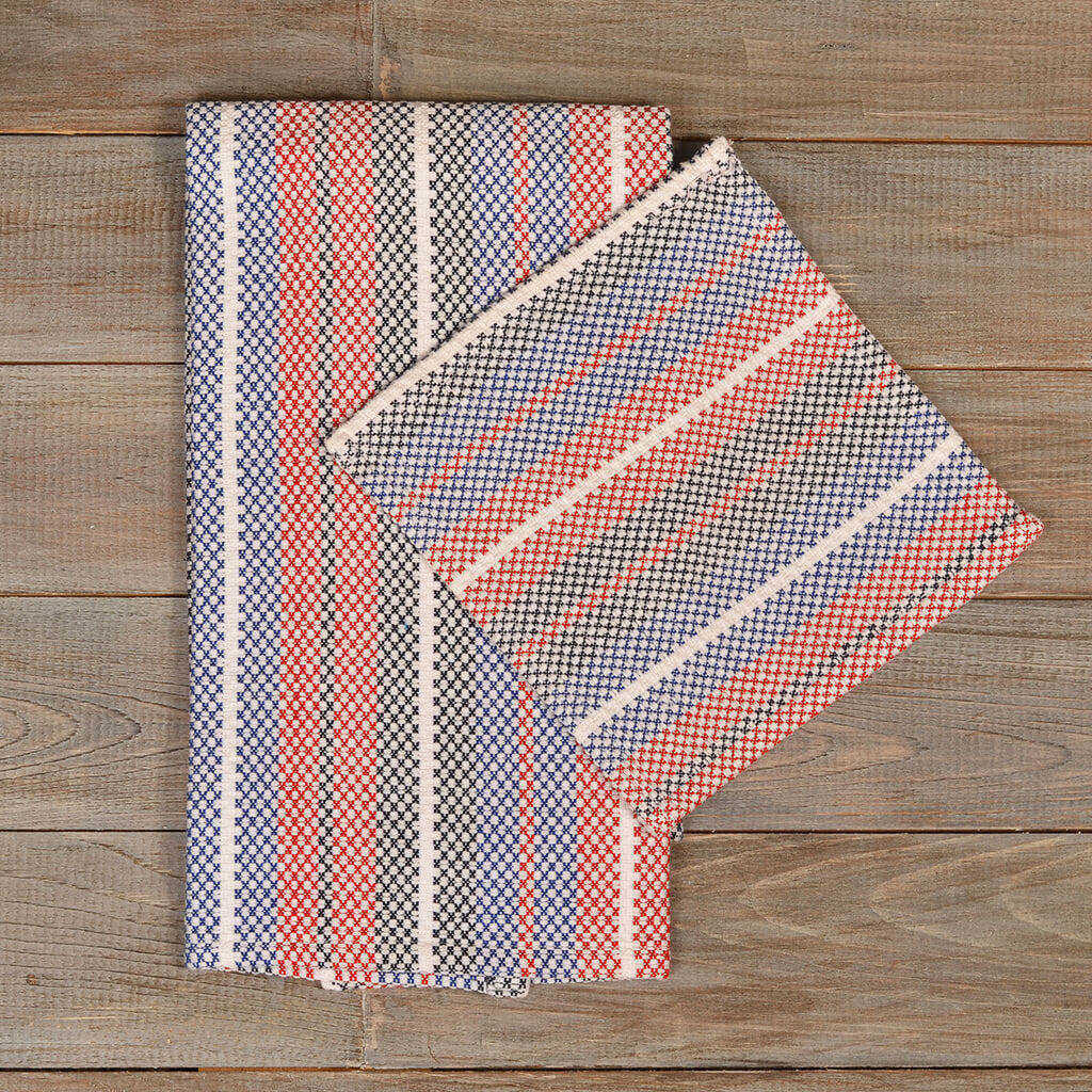 Hache Kitchen Towel With Dish Cloth In Red, White U0026 Blue Stripes On White