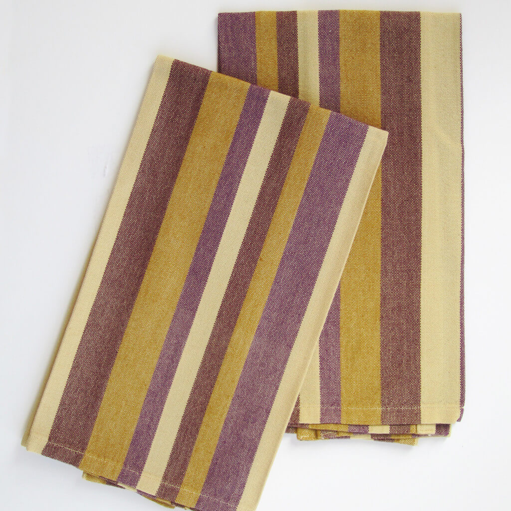 Kitchen towels mustard eggplant striped