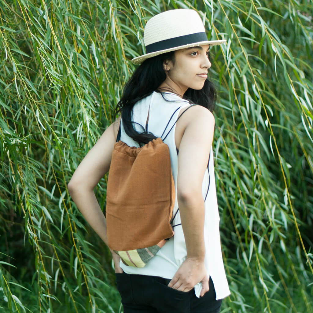Drawstring Backpack | Caramel Brown