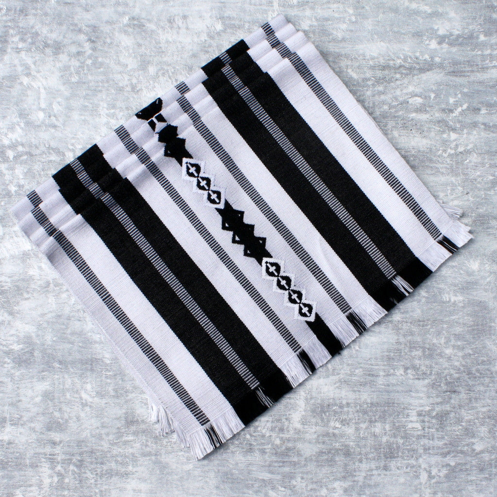 backstrap celebration black and white placemats