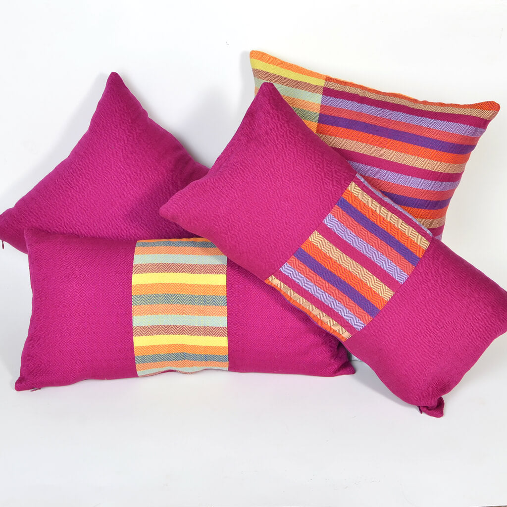 Diamond Stripe Lumbar Pillow in Magenta