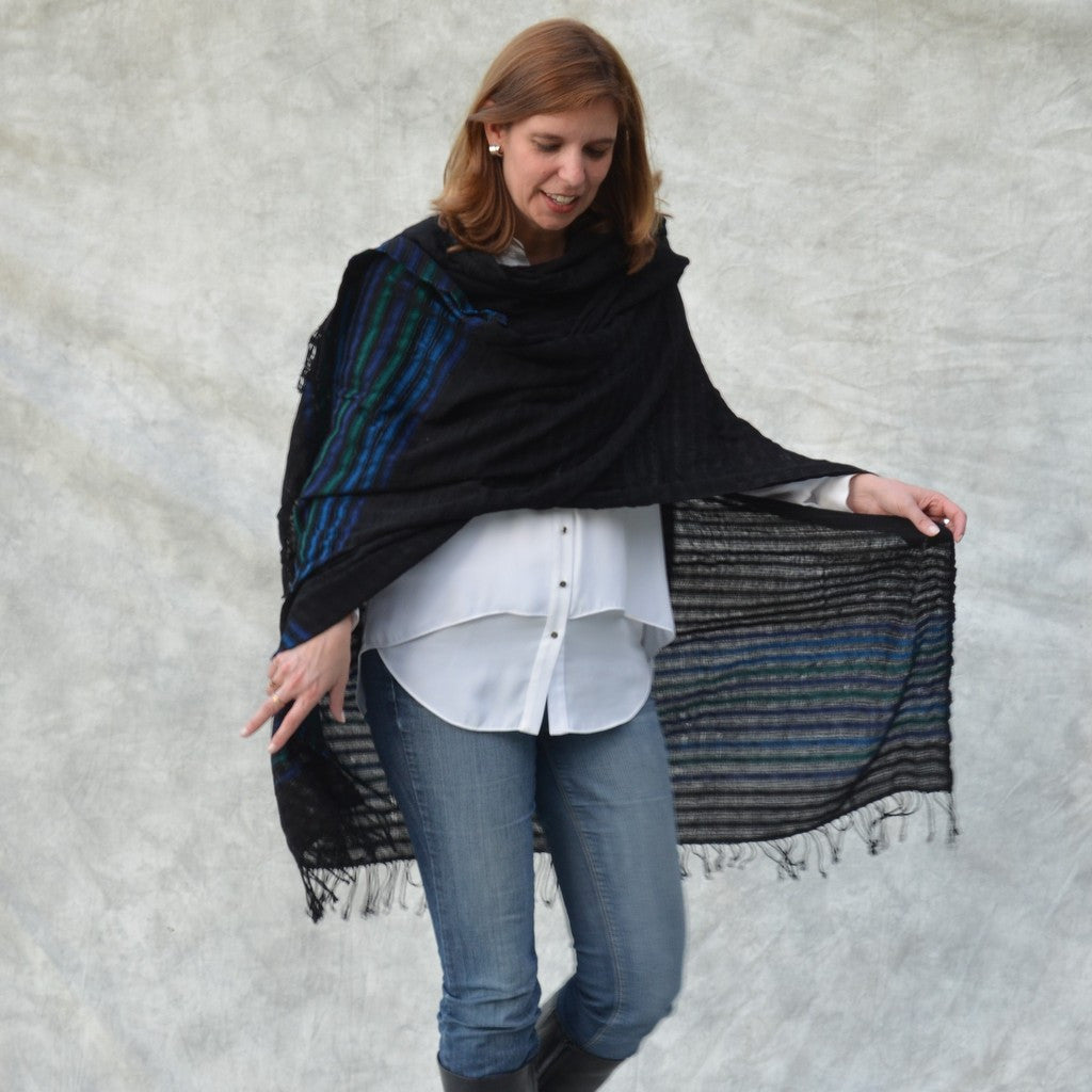 black with blue borders kimono poncho on model front view