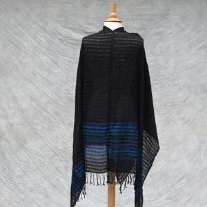 lightweight black kimono poncho with borders back view