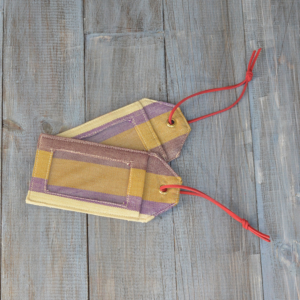 Mayamam Stripe Luggage Tags | Mustard & Eggplant